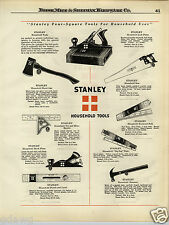 1924 PAPER AD 2 Sided Stanley Tools Plane Axe Saw Hammer Wrench Pliers Mill File