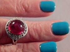 9.80 Ct. Round Cabochon Ruby w/Topaz Sterling Silver Dinner Ring Free Sizing