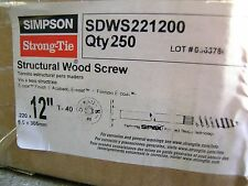 """SIMPSON STRONG TIE SDWS221200 10 CT 12"""" Log Home Structural Screw Interior Ecoat"""