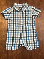 Wrangler Baby Boy 12M Collar One Piece Shortall | Blue Plaid | Vgc