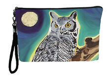 Owl Pouch Wristlet with detachable strap - From my orginal Painting, The Wise On