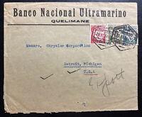 1937 Quelimane Portuguese Mozambique National Bank Cover To Detroit MI USA