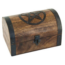 """NEW Pentacle Wooden Chest 4x6"""" Domed Lid Trinket Box with Latch Pentagram"""