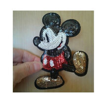 Mickey Mouse - Disney - Cartoon - Sequin Iron On Applique Patch - 4 3/4H