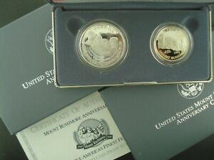 1991-S Mt. Rushmore Two-Coin Proof Set w /Silver Dollar $1 Box & COA *NO RESERVE