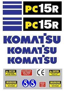 Decal Sticker set for KOMATSU PC15R Mini Digger Bagger Pelle
