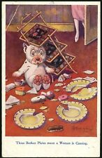 BONZO STEALING FOOD TROUBLE BROKEN PLATES POST CARD 1691 GE Studdy USED IN 1925