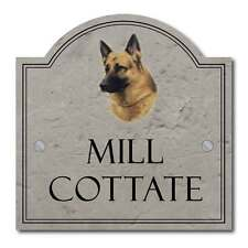 Personalised German Shepherd Pet Dog Metal House Number Sign Stone Effect 22cm