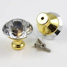 1 x CRYSTAL GLASS 40mm PULL FURNITURE KNOB WITH BOLT WARDROBE CUPBOARD H204