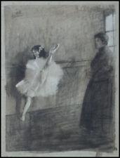 Danseuse en tutu Dessin fusain de Charles GIR (1883-1941) Danse Théatre