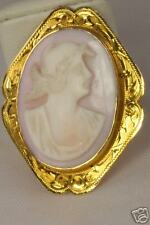 Coral Cameo Pin Pendant Big Antique 10K Gold Angelskin