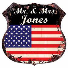 BPLU0005 America Flag MR. & MRS JONES Family Name Sign Home Decor Gift