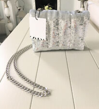 Ladies Zara Silver Quilted Sequin Mini Crossbody Chain Link Bag BNWT