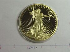 3.8 OZ 1933 STANDING LIBERTY COMMEMORATIVE MEDALLION COPPER NICKEL 24KT GOLD