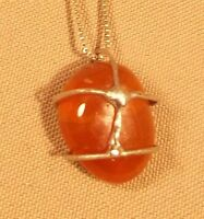 Vintage Carnelian pendant necklace on Sterling Silver chain