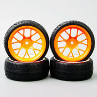 4pcs 1:10 RC On Road Speed Racing Car Rubber Tires wheel Tyre and Wheel Rim set