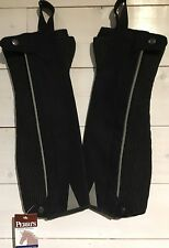 New Perri's Synthetic Suede Half Chaps. Adult Sz Large -  Black w/Grey pinstripe