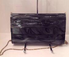 Vintage Gray Marbled Lucite Rolled Top Clutch/shoulder Bag -STUNNING ! EUC