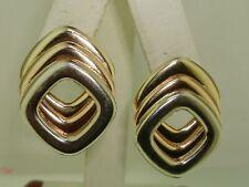 BOLD CLASSIC HEAVY 14K TRI-COLOR SOLID GOLD EARRINGS! UNIQUE DESIGN