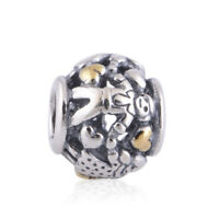 Genuine Auth 925 Sterling Silver Two Tone Family of Four Charm Bead for Bracelet