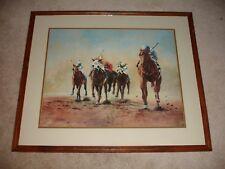 Vintage Rare Framed Horse Racing Art 1982 Laura Landingham