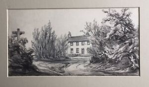 """UNKNOWN ARTIST BRITISH PENCIL """"AN ENGLISH FARM HOUSE"""" 1880 A"""