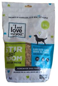 """""""I and love and you"""" Stir & Boom Dehydrated Freeze Dried Raw Dog Food LAMB"""