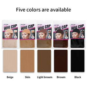 Wig Cap Breathable Stretchable Nylon Stretch Stocking Cap Nude Black Brown X2PCS