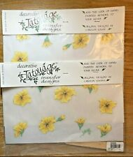 2 Tatouage Transfer Designs Original Carolyn Yovan Yellow Floral 328285 New 99'