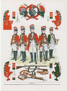 Vintage British Uniform Print c1760 15th Light Dragoons