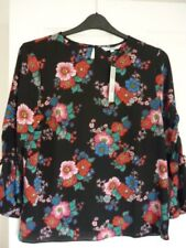 Red Herring Black Multi Floral Drapey Boho Top. UK 14 EUR 40-42 US 10