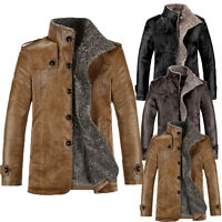 UK Men Winter Warm Jacket Leather Fur Parka Fleece Trench Coat Outwear Overcoat