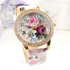 Ladies Women's Flower Dial Leather Stainless Steel Analog Quartz Wrist Watch