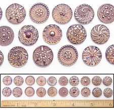 14mm Czech Glass Purple Amber AB SHANKLESS No Shank Cabochon Buttons 20p 10PAIRS