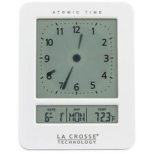 617-1392W La Crosse Technology Atomic Digital Analog-Style Dual Alarm Clock NIB