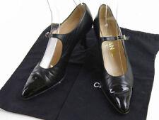 CHANEL Women's Pumps Leather Patent Black Black 38