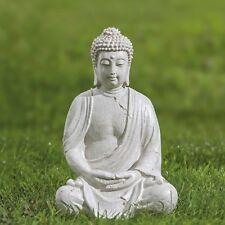 Deko Buddha Figur sitzend aus Kunstharz creme Höhe 37cm Feng Shui Statue