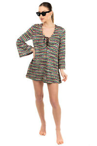 RRP €1110 MISSONI MARE Knitted Beach Dress Size 40 / S Lace Up Made in Italy