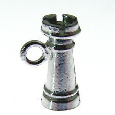 SILVER CHESS PIECE CHARM.  925 STERLING SILVER CASTLE or ROOK CHARM