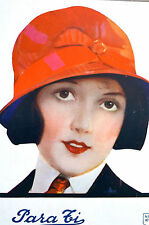 Para Ti Spanish Argentina 1920 Matted Art Cover PROPER LADY w RED HAT and TIE