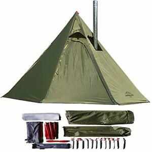 1-2 Person Teepee Tent for Outdoor Camping, Heated Chimney Shelter, Green