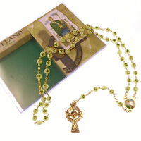 Red imitation agate rosary beads bracelet with gold chain St Benedict center