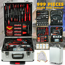999 pcs Tool Set Standard Metric Mechanics Kit Case Box Organize Castors Trolley