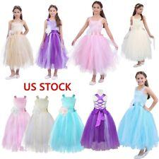 US Flower Girl Dress Princess Wedding Bridesmaid Formal Tutu Dress Pageant Party