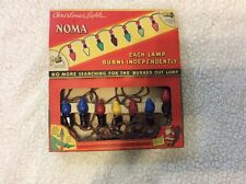 Vintage Noma Christmas Lights Working Set of 7 In Original Box Dated 1939