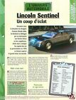 Lincoln Sentinel V12 Berline Luxe Ford Motor Cie USA 1996 Auto Car FICHE FRANCE