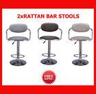 2x Rotating Bar Stool Rattan Seat Adjustable 360 degree Swivel