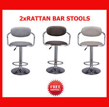 2x Rotating Bar Stool Rattan Seat Adjustable 360 degree Swivel