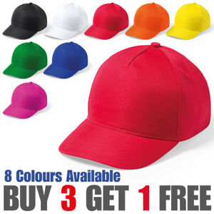 Kids Plain Baseball Cap Adjustable School Girls Boys Junior Children's Hat
