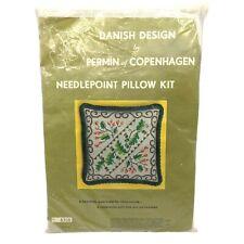 Vintage Danish Design By Permin of Copenhagen Needlepoint Pillow Kit Floral 8306